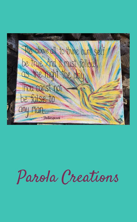 Shakespeare Quote | Humming Bird Art | Customizable | Colorful Quote