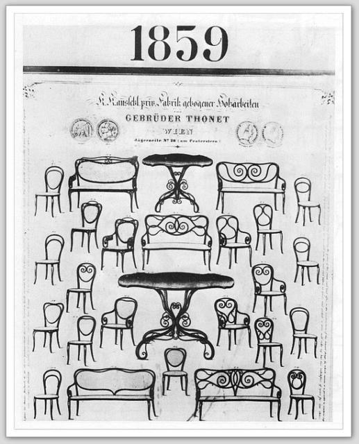 Design autrichien catalogue thonet 1859 si ges bois tourn 1850s mobilier s cession for Catalogue mobilier design