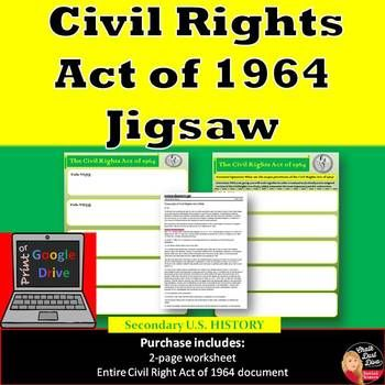 The Civil Rights Act of 1964 Jig Saw Activity (Print and Google Doc)