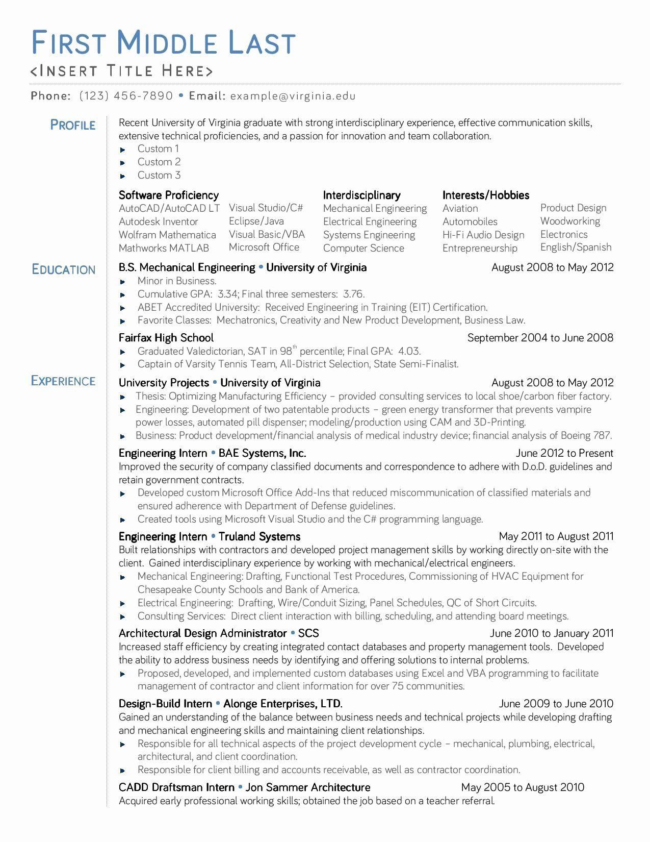Entry Level Mechanical Engineering Resume Elegant Resume