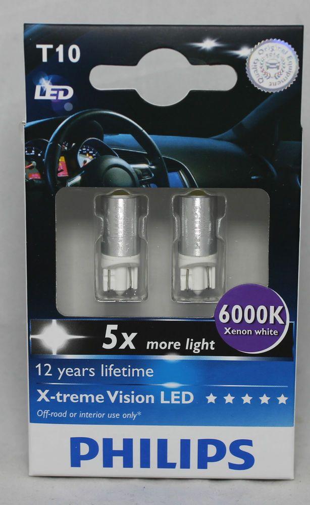 genuine philips 6000k t10 w5w led bulbs for parking lights xenon white new gen. Black Bedroom Furniture Sets. Home Design Ideas