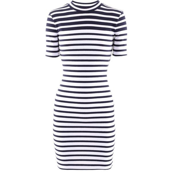 Alexander Wang Navy White Striped Dress (2.165 NOK) ❤ liked on Polyvore featuring dresses, navy white stripe dress, striped dress, navy white dress, alexander wang dress and stripe dresses