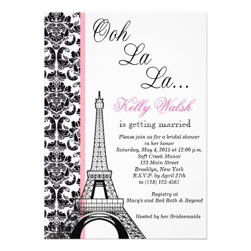 Eiffel tower damask paris bridal shower invitation bridal shower eiffel tower damask paris bridal shower invitation filmwisefo