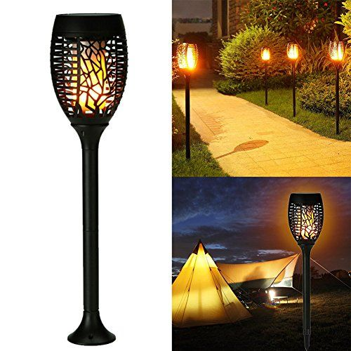 Lampes de jardin torche solaire extérieure 96 LED imperméable à l ...
