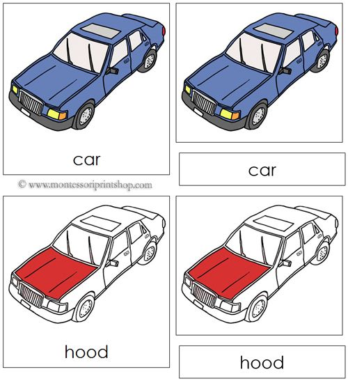 Car Nomenclature Cards (Red) - 20 Parts of the Car in 3-Part Cards, includes Black-Line Master.