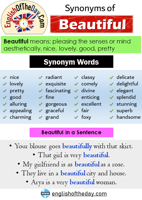 Another Word For Beautiful Synonyms Of Beautiful Nice Lovely Pretty Good Alluring Appealing Char Another Word For Beautiful Words English Grammar Notes