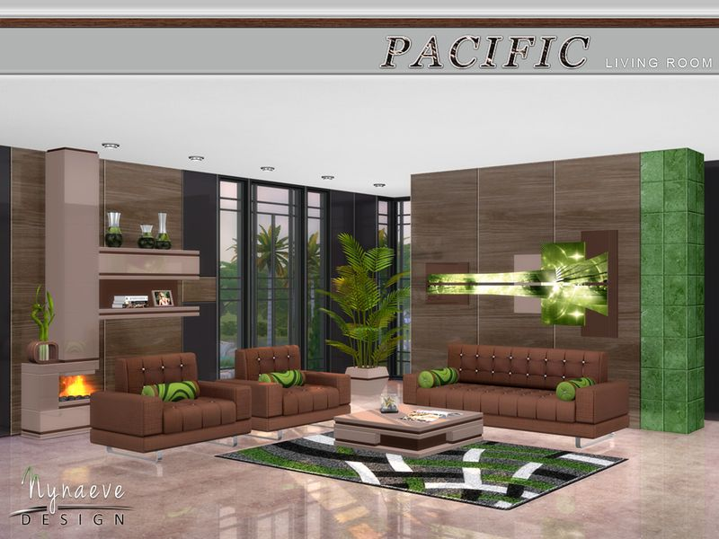 Lana CC Finds - Pacific Heights Living Room by NynaeveDesign TS4 - sims 3 wohnzimmer modern