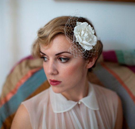 Vintage Wedding Hairstyles With Birdcage Veil: Ivory Flower With Vintage Birdcage Veil 1940s Bride By