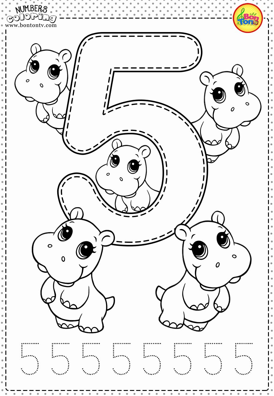 Printable Animal Coloring Sheets Unique Number 5 Preschool Printables Free Free Preschool Printables Preschool Worksheets Free Printables Kids Learning Numbers