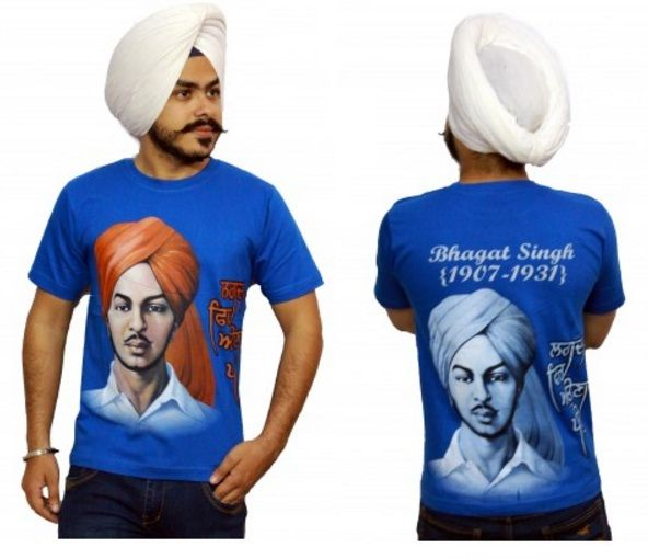 f94dbbb40 Digital Print T-shirt of The Great Bhagat Singh on the front & Back and  also written on the side