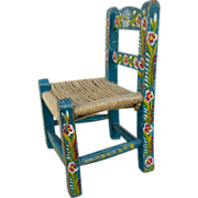 Hand Painted Child's Toy Chair Mexican Tourist Folk Art Extra Small for Dolls Teddy Bears.