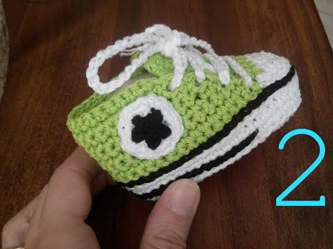 343fc81b73e3c Tutorial Crochet  how to make baby shoes ALL STAR CONVERSE (last part) -  YouTube - VIDEO