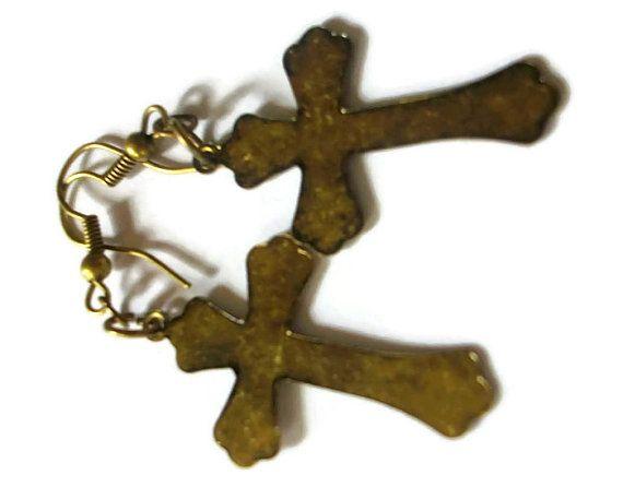 Antiqued Cross Earrings by TaylorsArtsAndCrafts on Etsy