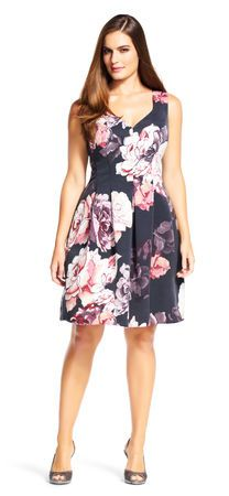 Floral Seamed Fit and Flare Dress with V-Back