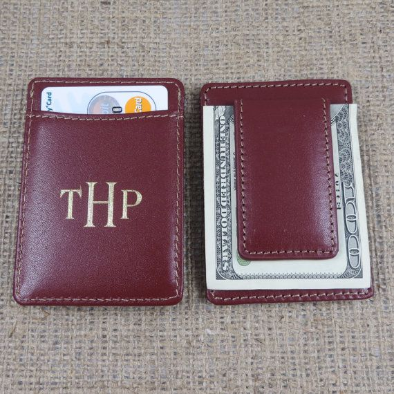 Monogrammed Leather Money Clip - Monogram Wallet - Personalized ...