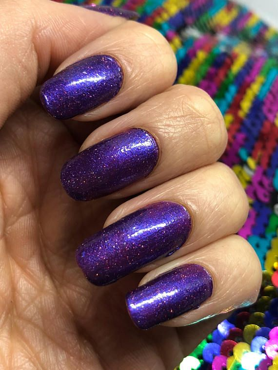 Purple Nebula Is A Colored Nail Polish With Silver Holographic Glitter Https