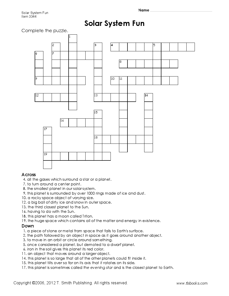 Solar System Fun a crossword puzzle Worksheets