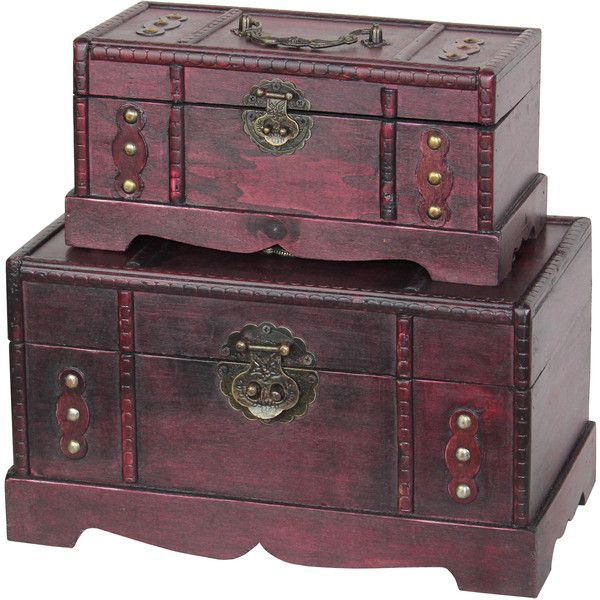Antique Wooden Treasure Chest ($47) ❤ Liked On Polyvore Featuring Home,  Home Decor