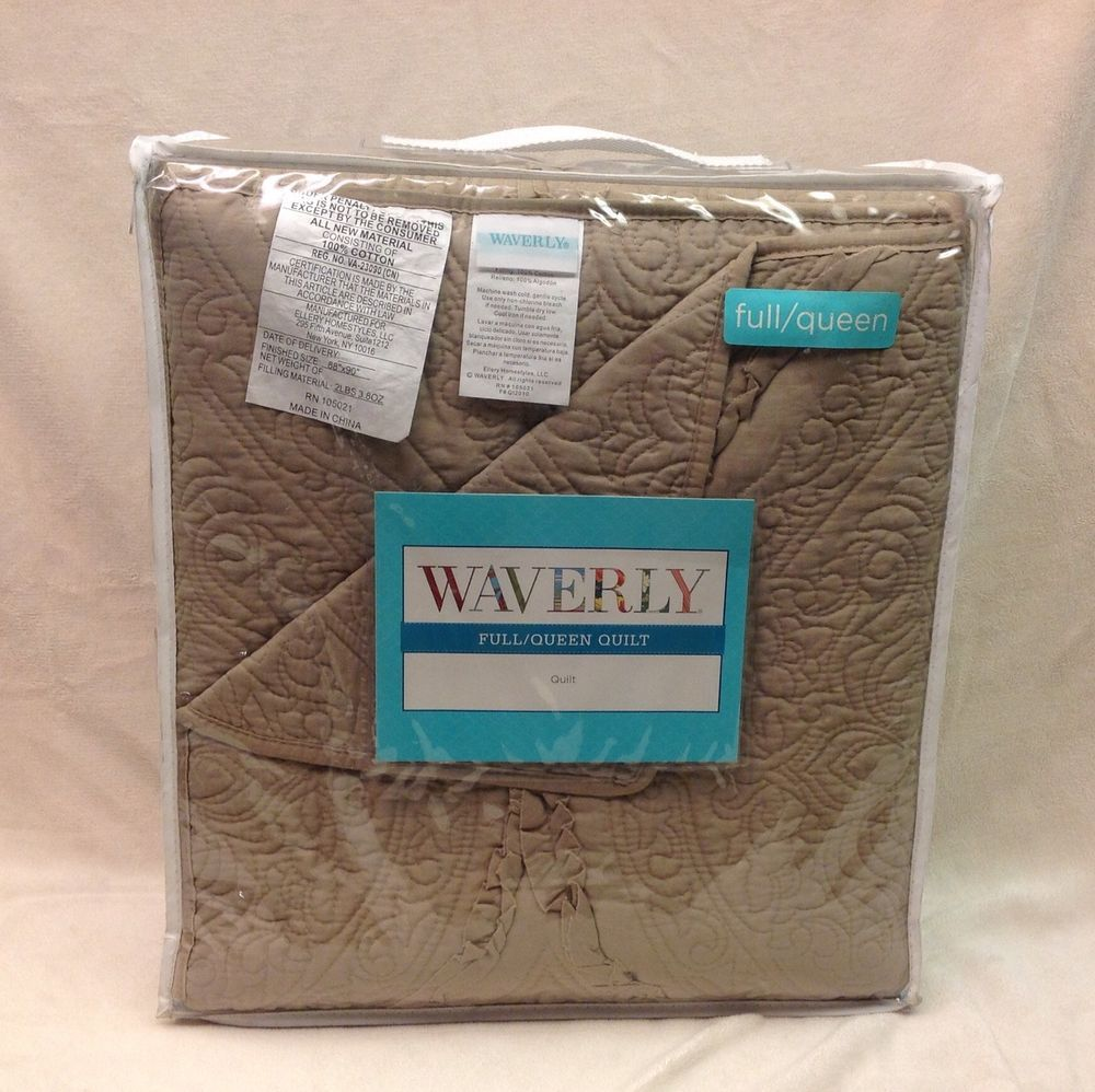 "Waverly Sydney-Taupe Full/Queen Size Quilt 100% Cotton 88X90"" #12430 Nib #Waverly #Tuscan"