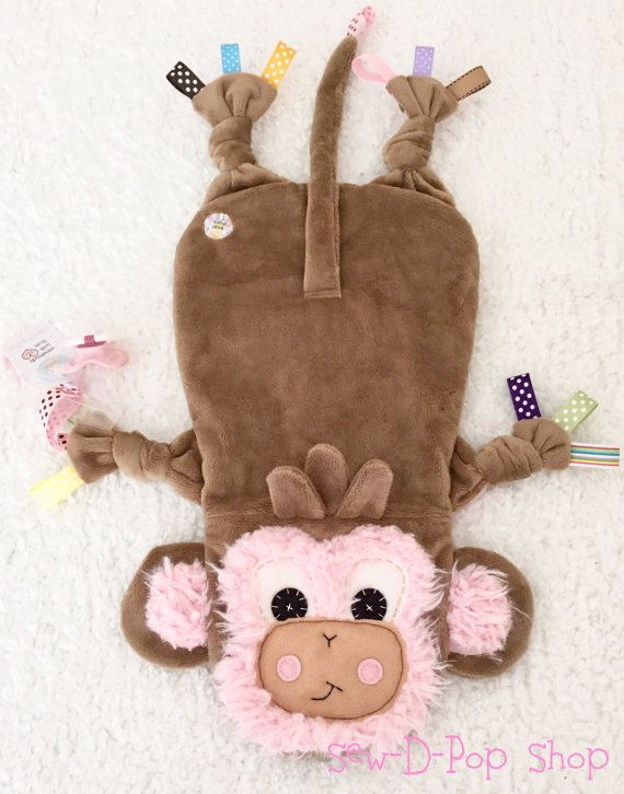 Baby Monkey Personalized Lovey Cuddle Blanket Toy by SewDPopShop