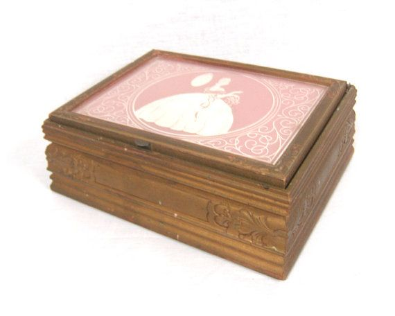 1920s Jewelry Box Carved Wood Mirror Rose Quartz and Gold Cottage