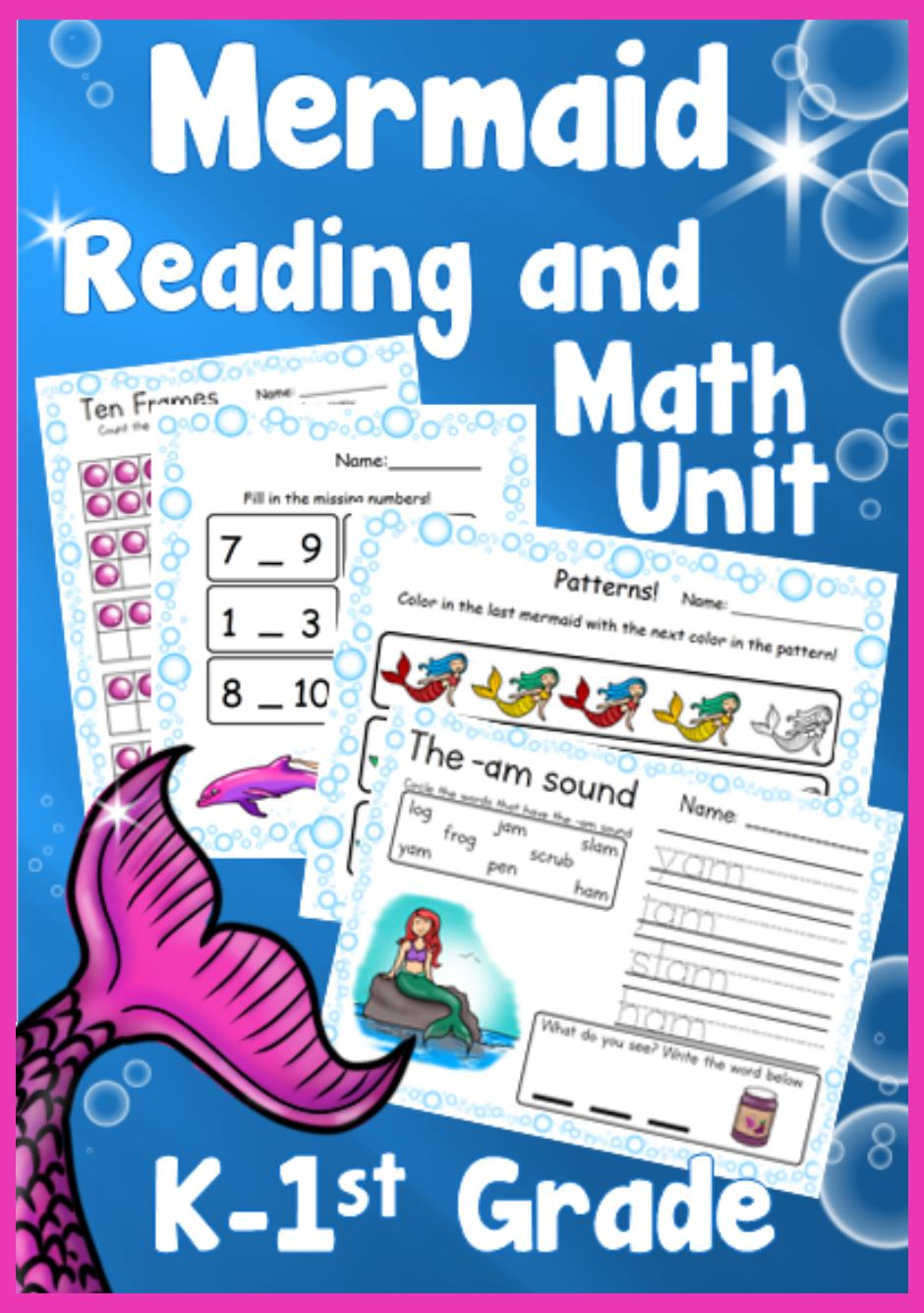 Mermaid Kindergarten 1st Grade Reading Writing Math Unit Math 1st Grade Math Writing Units [ 1336 x 940 Pixel ]
