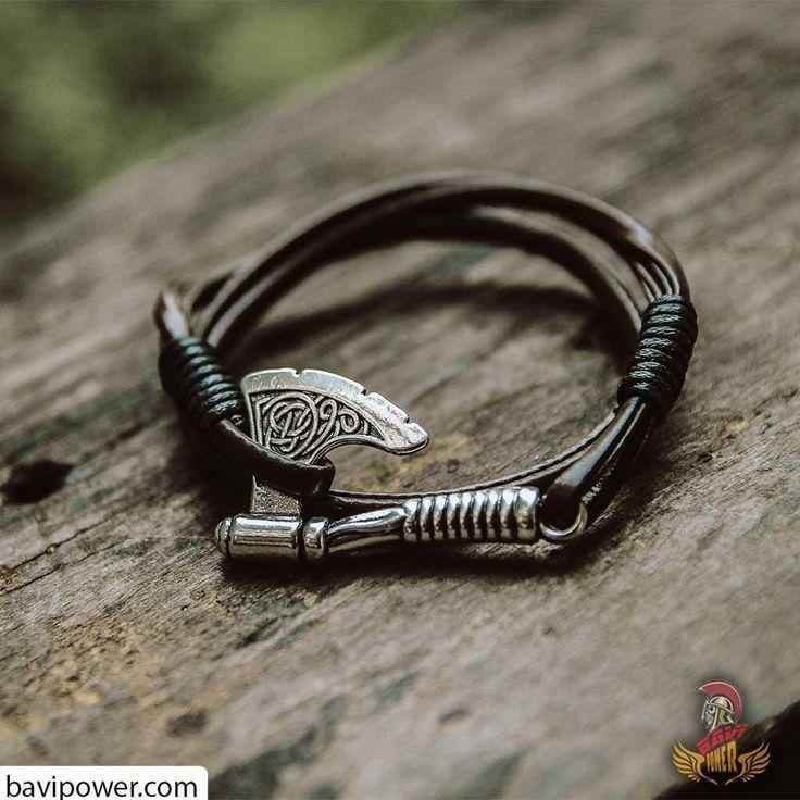 Viking Axe Leather Bracelet