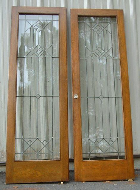 Antique French Doors Pair Of Arts And Crafts Leaded Glass Doors