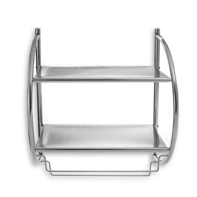 This Sleekly Designed Unit Mounts On The Wall Providing Ample Storage Space For Towels Toiletries And More Easy Chrome Bathroom Shelves Towel Rack Shelves