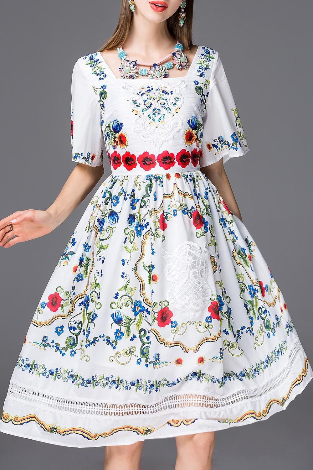Embroidery Bell Sleeve Flare Dress Click On Picture To Purchase Rok Jeans 7 8 Drakblue Jsk5012 Allsize