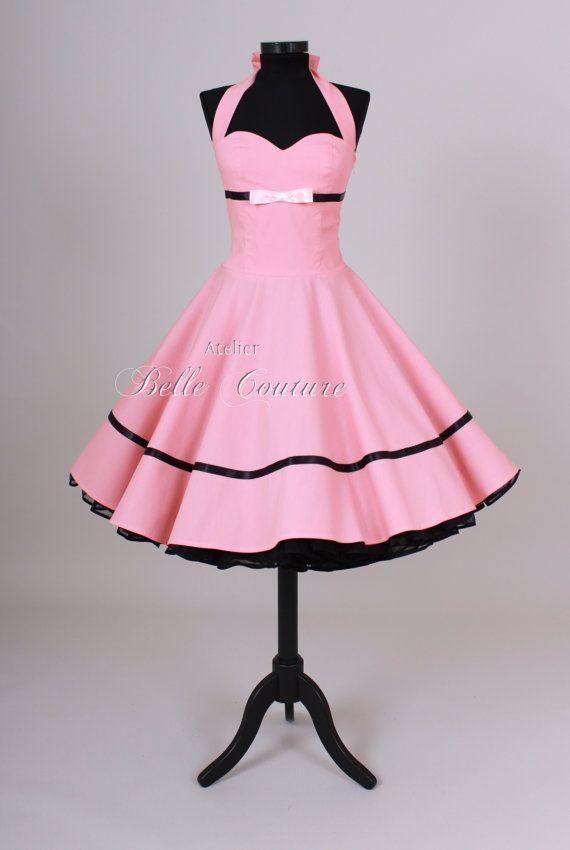 Misura & handmade - sottoveste anni 50 vestito rosa/nero art: 21 ...