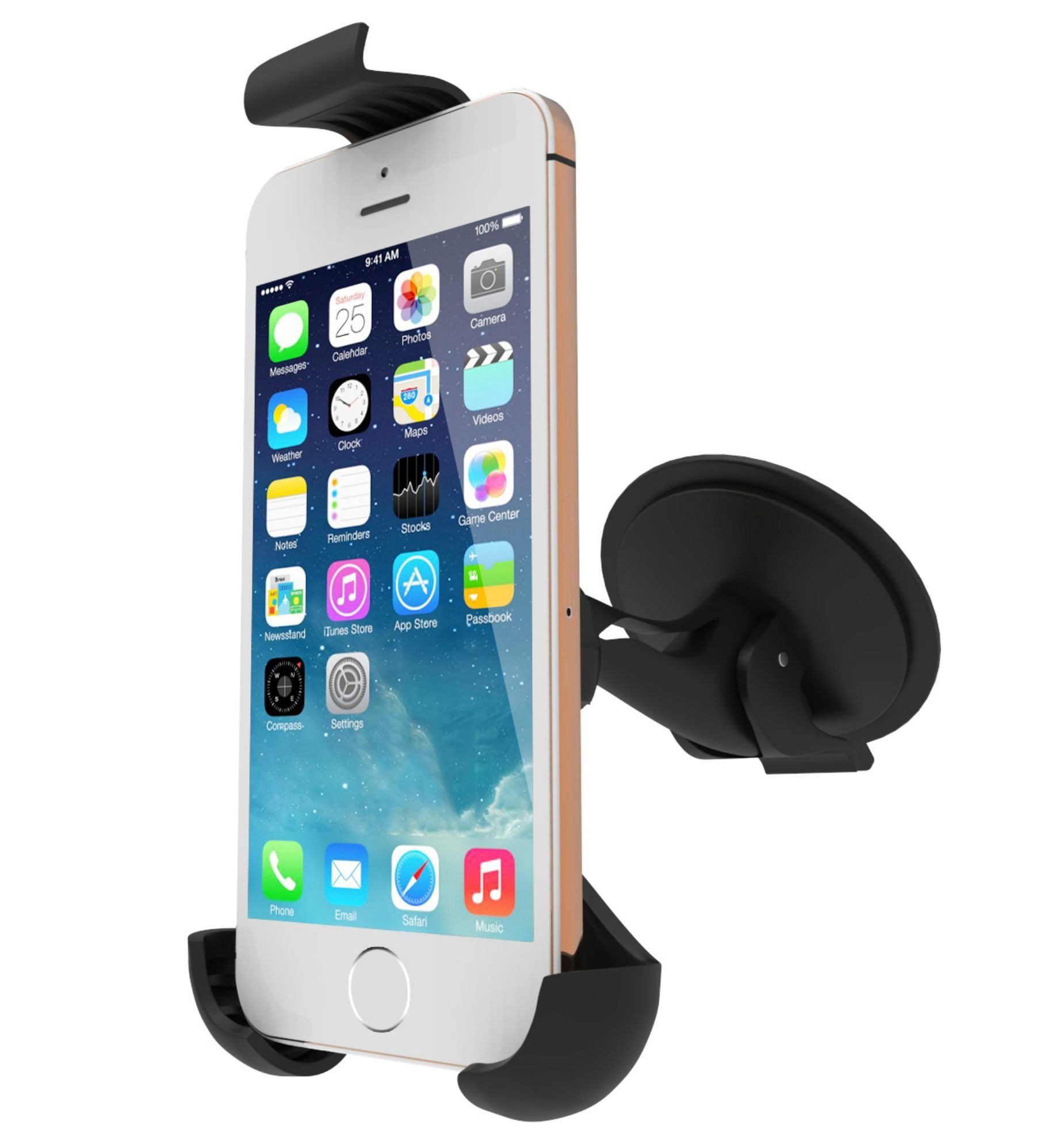 Cell phone car mount holder and cradle for car window and dashboard compatible with iphones