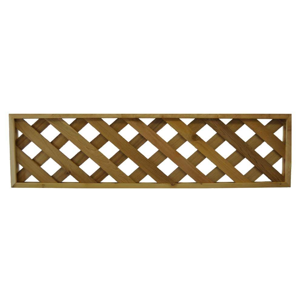 Null 45 75 In X 12 In Western Red Cedar Diagonal Pattern Framed Lattice Fence Panel 2 Pack Lattice Fence Panels Lattice Fence Fence Panels