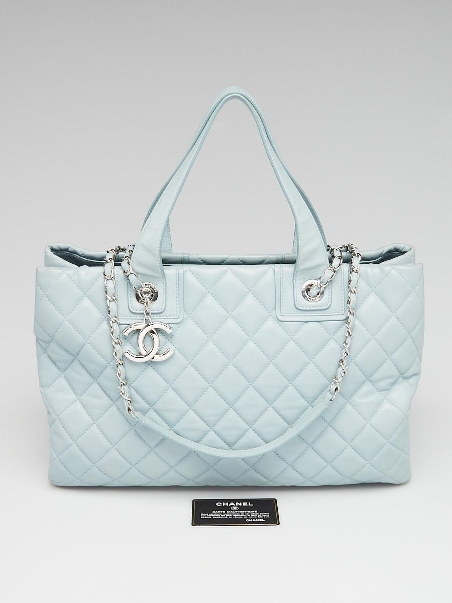 6c93e1b6c5f209 Chanel Blue Quilted Lambskin Leather Shopping Tote Bag - Yoogi's Closet