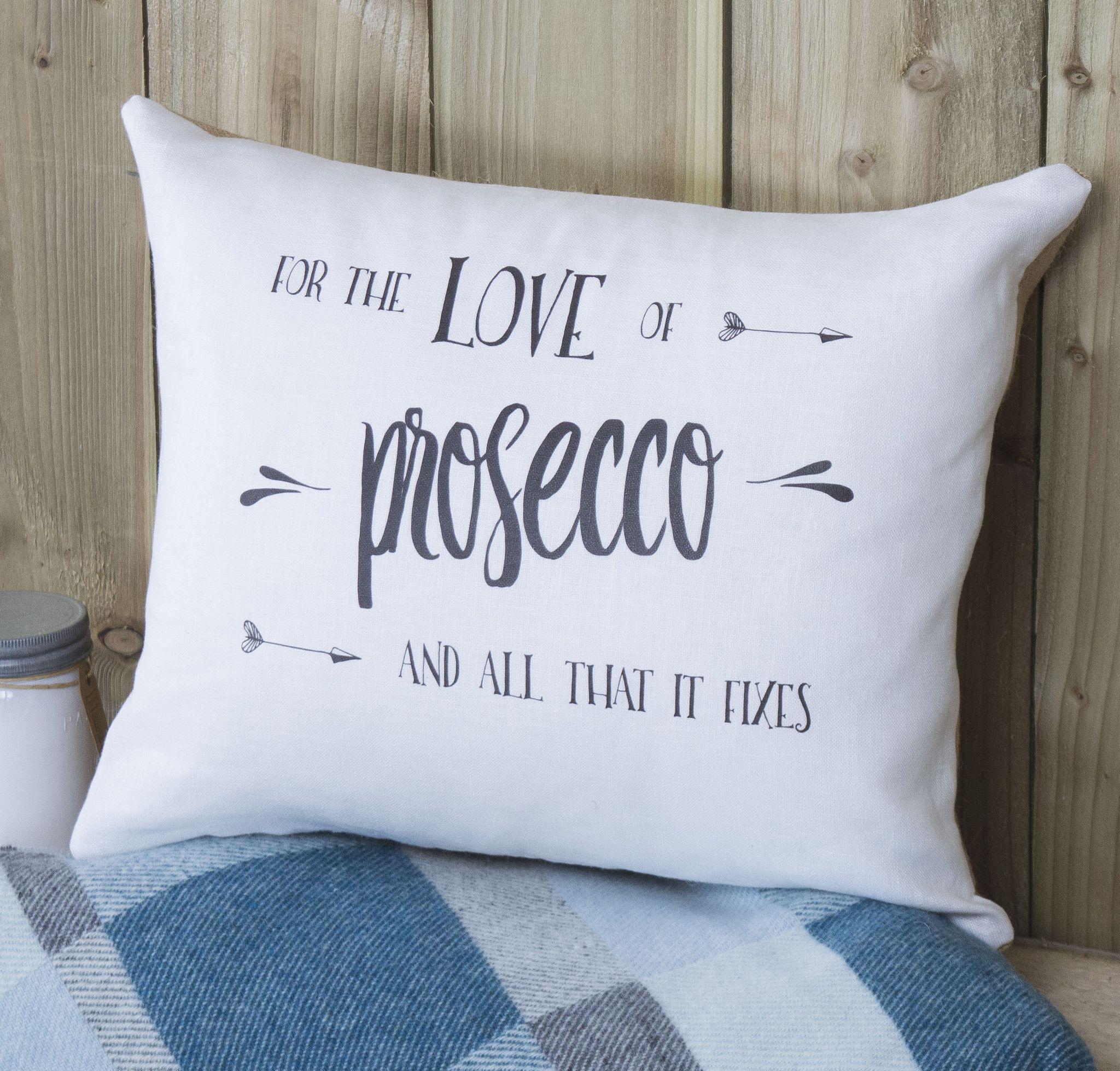 ' Prosecco ' Linen Gift Cushion