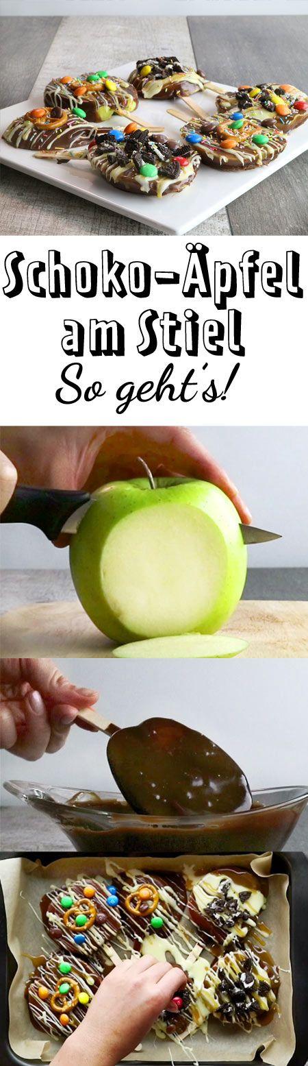Schoko-Äpfel am Stiel - so geht's   LECKER