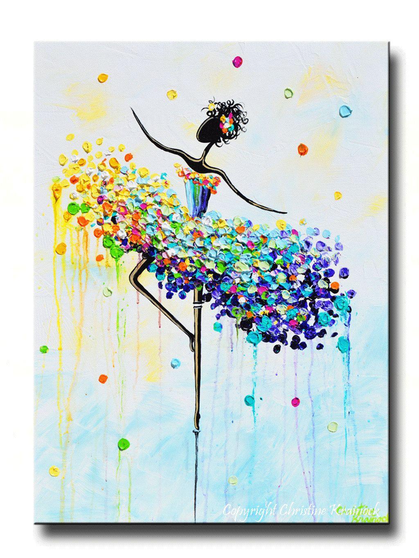 Tänzerin de Pointe große Giclée-Druck, LEINWANDDRUCK Original abstrakte Tänzerin Malerei Ballett Tanz Kunst Multi farbige Aqua blau weiß rosa Spachtel aus Original Wandbeschaffenheit pastosen Wand Dekor Galerie Mischtechnik Acryl-Gemälde auf 1,5 tief Galerie Leinwand gewickelt.