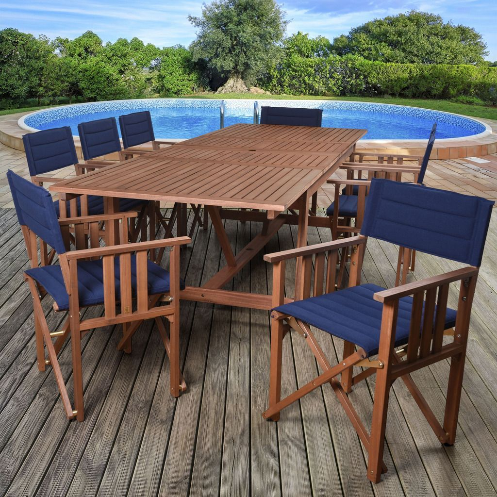 Amazonia Orlando Blue, Brown Polyester Upholstery And Wood 9 Piece Double  Leaf Extendable Rectangular Patio Dining Set (Natural Wood U0026 Blue Sling),  ...