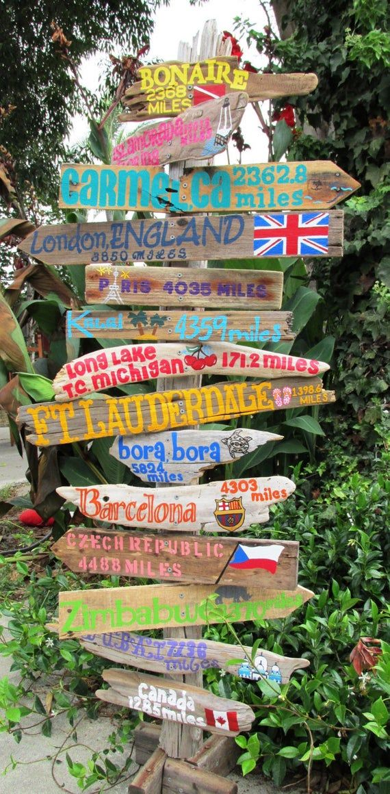 Destination Driftwood Travel Sign with destinations and mileage. Price is per sign. Wedding decor, retirement gift, travel. INCLUDES POST