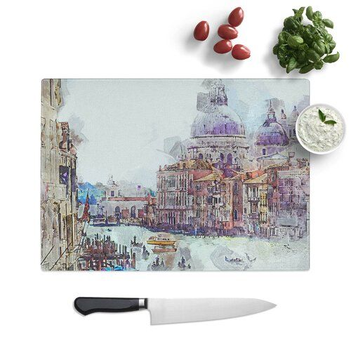 Photo of Canal Through Venice Italy tempered glass chopping board East Urban Home Size: 28.5 cm W x 20 cm L