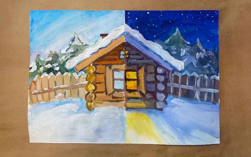 Зимняя сказка: учимся рисовать пейзаж - Статьи - Дети 3-7 лет - Дети Mail.Ru