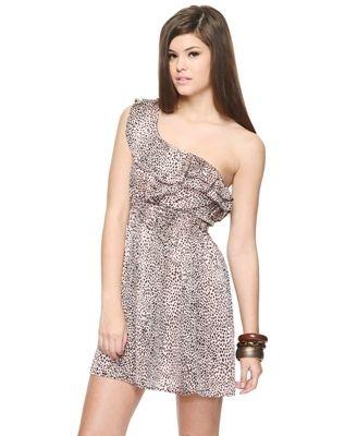 One Shoulder Animal Dress - Dresses - Casual - 2064786317 - Forever21 - StyleSays
