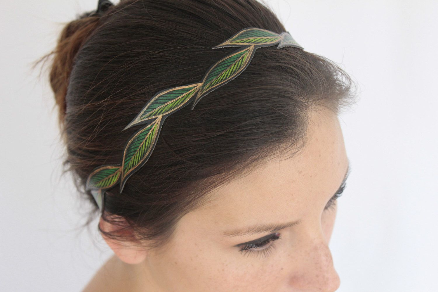 Women's Headband Fall, Cascading Green Leaves, Faux Leather, Handmade & Painted, Vegan Boho Headband, Gifts for Her by AshleyAnnBennett on Etsy https://www.etsy.com/listing/165458964/womens-headband-fall-cascading-green
