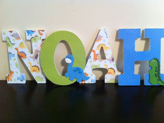 Dinosaur Wooden Letters Nursery Letters Wall by BabeeCakesBoutique ...