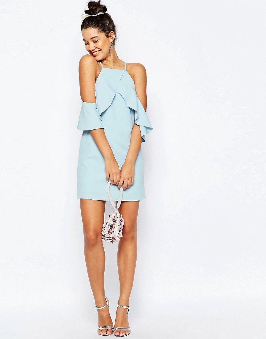 Image of asos cold shoulder ruffle crepe mini dress luohu
