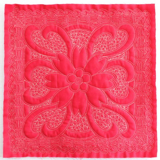 Red Flower Stencil, Free Motion Quilting