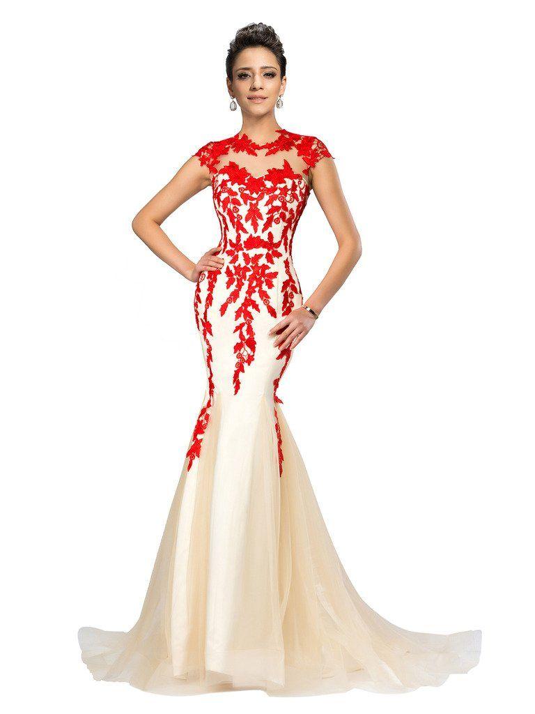 Clocolor womenus cap sleeve applique lace mermaid designer evening