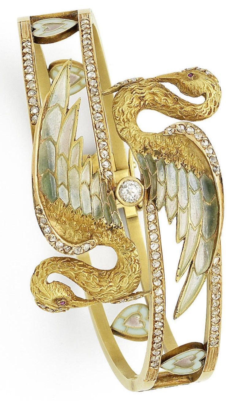 Masriera y carreras a vintage gold enamel and diamond bangle in