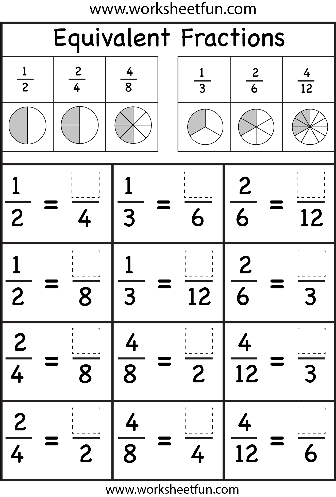 equivalent fractions fraction worksheets pinterest