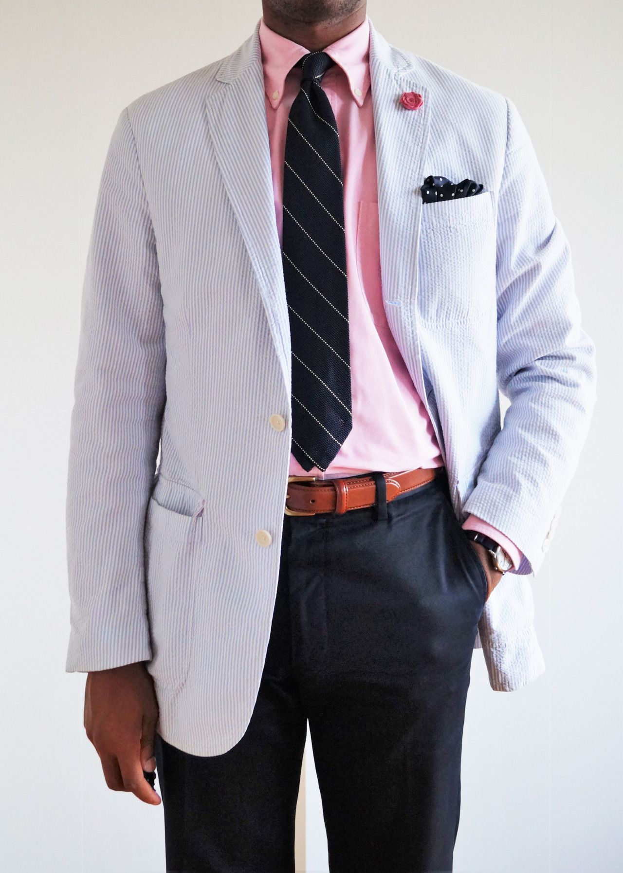 Seersucker Jacket Pink Ocbd Navy Tie With White Stripes Navy